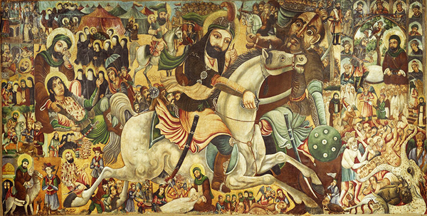 In the Battle of Karbala, depicted in Abbas Al-Musavi's painting, Husayn, the son of 'Ali and grandson of Muhammad, was killed along with his family and all his followers by the armies of the Umayyad Caliphate. It was the most crucial moment in the split between Shi'a and Sunni Islam. (Image source: Brooklyn Museum)