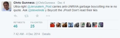 Gunness calls for a boycott on The Jerusalem Post