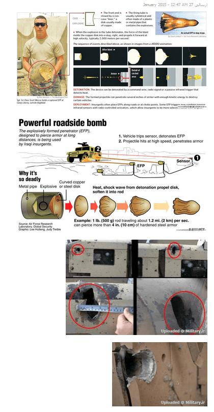 Page showing EFP bombs uploaded to an Iranian Military forum page