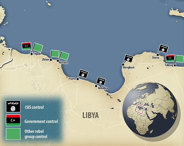 Overrun: The majority of Libya's coastal cities have surrendered control to Islamic State and other rebel extremist groups created to oppose the NATO-led invasion which removed Gaddafi from power