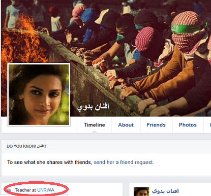 Afnan Badawi (f) - FB profile UNRWA link