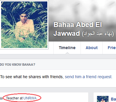 Bahaa Abed El Jawwad - FB profile UNRWA link