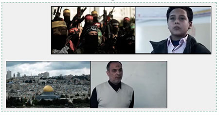 "Above: Mim for muqawama (""resistance,"" i.e., terrorism). Below: Qaf for Al-Quds (Jerusalem) (YouTube)."