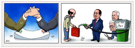 A la derecha: Una caricatura publicada por Hamás que expresa los esfuerzos de Mahmoud Abbas y del Primer Ministro de Israel Netaniahu para dificultar el abastecimiento de diesel de Egipto a la Franja (página facebook al Risala, 22 de junio de 2017). A la izquierda: Caricatura que expresa las luchas de poder entre la Autoridad Palestina y Hamás en torno a la crisis de la electricidad en la Franja de Gaza (cuenta Twitter PALINFO, 23 de junio de 2017)