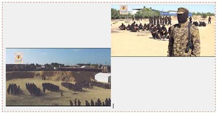 Un activista del brazo militar de la Yihada Islámica habla por altavoz sobre el trasfondo del centro de entrenamientos (sitio de los escuadrones Jerusalén, 24 de junio de 2017). A la izquierda: Los acivistas que se ven en la fotografía son según parecería gente del nuevo escuadrón (sitio de los escuadrones Jerusaén, 24 de junio de 2017)