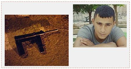 A la derecha: Munir Ghaith Iyad Arafat, de 23 años de Hebrón, que murió duante una actividad de las fuerzas de seguirdad en Hebrón. A la izquierda: El arma improvisada con la que realizó disparos hacia las fuerzas de seguridad (Maan, 28 de junio de 2017)
