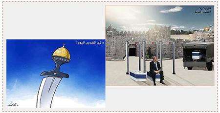 Carteles publicados por Hamás después del atentado. A la derecha: El Primer Ministro israelí pagará un precio por su obstinación en colocar detectores de metales en el compuesto del Monte del Templo. A la izqierda se lee ¿A quien pertenece) Jerusalén hoy día? Cuenta Twitter PALINFO, 22 de julio de 2017)