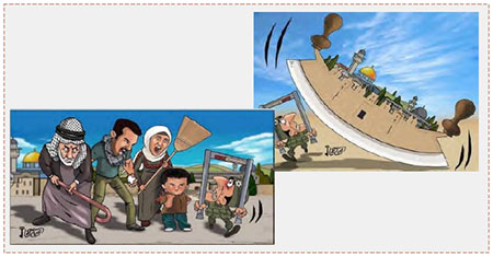 Dos caricaturas de Omaya Joha, que se identifica con Hamás, que expresan la victoria sobre las fuerzas israelíes de seguridad (cuenta Twitter PALINFO, 29 de julio de 2017)