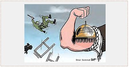 Una caricatura de Hamás que expresa la victoria sobre las fuerzas de seguridad israelíes (cuenta Twitter, al Risala, 27 de julio de 2017)