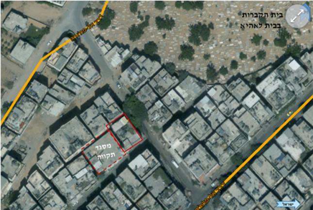 Fotografías aéreas expuestas por el comandante que muestran las entradas de los túneles debajo de las viviendas en la Franja de Gaza. (portavoz de las FDI, 10 de agosto de 2017)