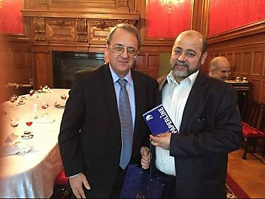 Musa Abu Marzouq, director adjunto de la Oficina Política con Mikhail Bogdanov, el viceministro de Relaciones Exteriores de Rusia (sitio web de Hamás, 21 de septiembre de 2017).