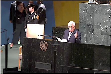 Abu Mazen dando su discurso frente a la Asamblea General de la ONU en Nueva York (Wafa, 21 de septiembre de 2017).