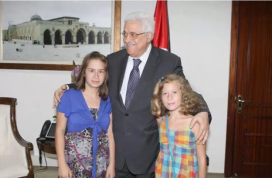 Mahmoud Abbas meets with Ahed Tamimi, her mother, Nariman, and her sister (Wafa, August 26, 2017).