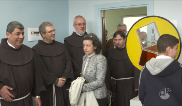 Ceremony inaugurating the first stage of the restoration of the Terra Santa School in east Jerusalem, with the participation of Christian clerics led by the director of the school, Father Ibrahim Faltas (far left) (Facebook page of the Terra Santa School, February 27, 2018).