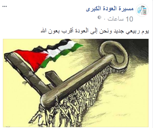 "Picture posted to the ""great return march"" Facebook page of Palestinians carrying a key (the symbol of the return) flying the Palestinian flag. The Arabic reads, ""A new spring day and we are close to the return, with the help of Allah"" (Facebook page of the ""great return march,"" March 13, 2018)."